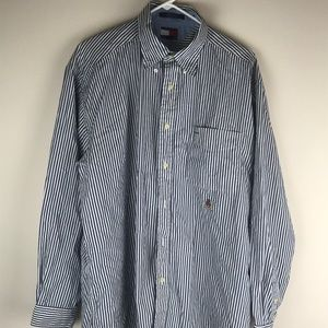 Tommy Hilfiger Mens Blue and White Striped Long Sl